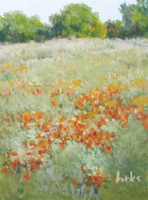 Original art for sale at UGallery.com | Roadside Reds by David Forks | $375 | oil painting | 12' h x 9' w | ..\art\oil-painting-Roadside-Reds