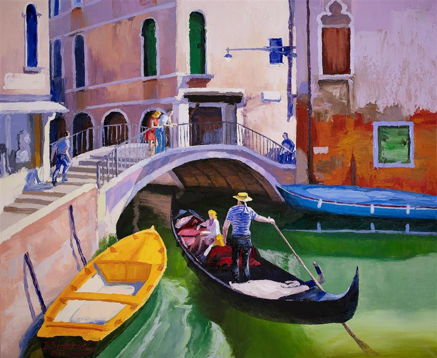 Original art for sale at UGallery.com | View of Venice by Stanislav Sidorov | $950 | oil painting | 20' h x 24' w | ..\art\oil-painting-View-of-Venice