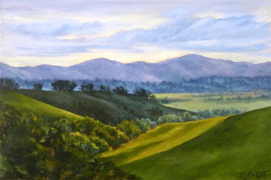 Original art for sale at UGallery.com | Vista No. 2 Val D'Orcia by Elizabeth Garat | $700 | oil painting | 12' h x 18' w | ..\art\oil-painting-Vista-No-2-Val-D-Orcia