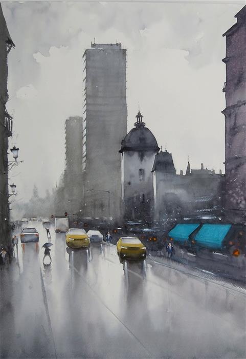 Original art for sale at UGallery.com | Nothing Falls Like London Rain by Swarup Dandapat | $750 | watercolor painting | 22' h x 15' w | ..\art\watercolor-painting-Nothing-Falls-Like-London-Rain