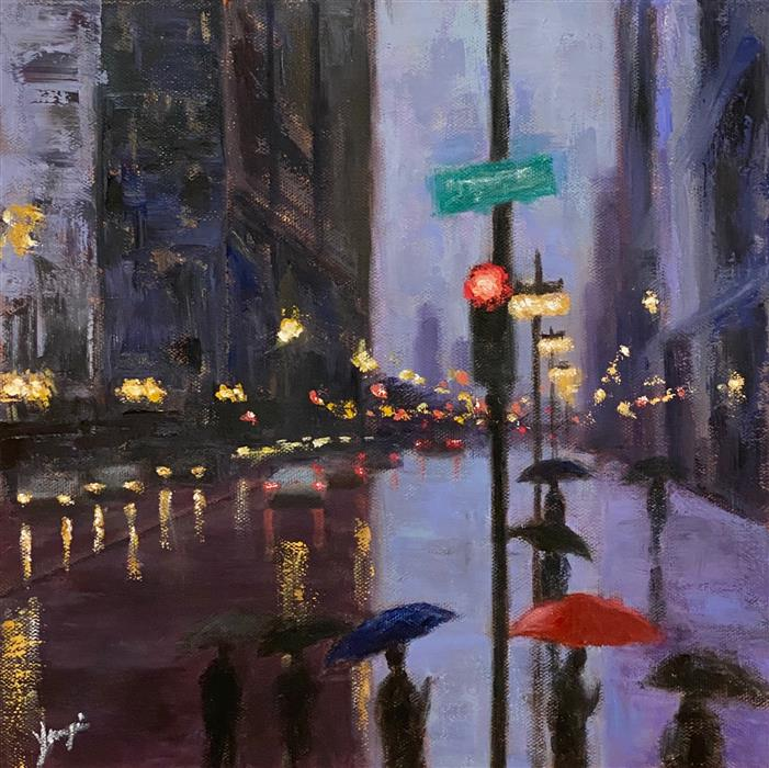 Original art for sale at UGallery.com | The Umbrellas on Michigan Ave by Yangzi Xu | $400 | oil painting | 12' h x 12' w | ..\art\oil-painting-The-Umbrellas-on-Michigan-Ave