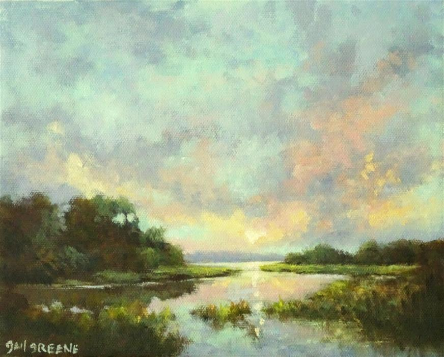 Original art for sale at UGallery.com | Pastel Skies at Sunset by Gail Greene | $300 | oil painting | 8' h x 10' w | ..\art\oil-painting-Pastel-Skies-at-Sunset