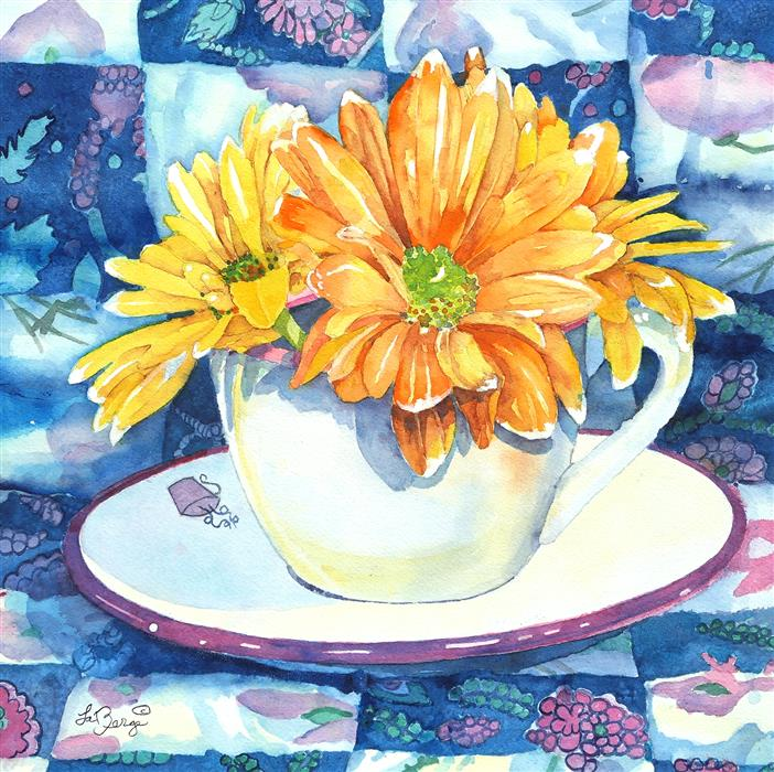 Original art for sale at UGallery.com | Coneflower and the Blues by Nancy LaBerge Muren | $600 | watercolor painting | 14' h x 14' w | ..\art\watercolor-painting-Coneflower-and-the-Blues