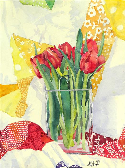 Original art for sale at UGallery.com | Tulip Friends in a Vase by Nancy LaBerge Muren | $575 | watercolor painting | 16' h x 12' w | ..\art\watercolor-painting-Tulip-Friends-in-a-Vase