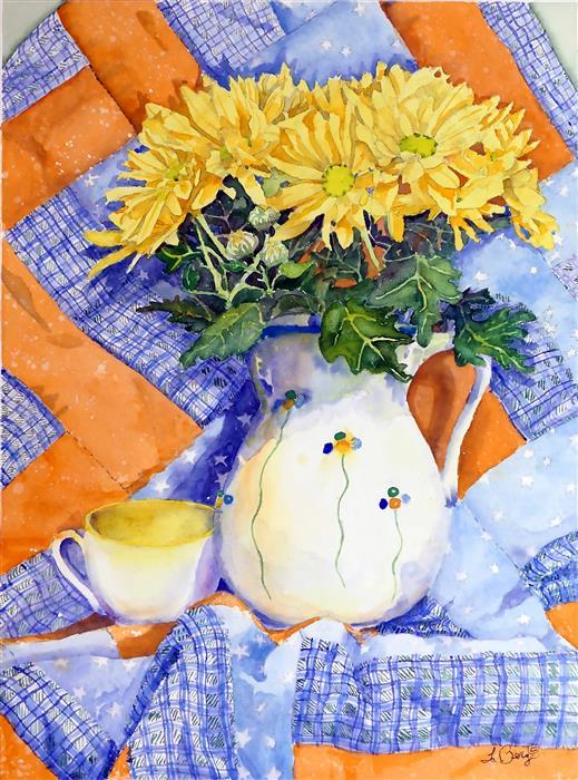 Original art for sale at UGallery.com | Precious Friendship by Nancy LaBerge Muren | $575 | watercolor painting | 16' h x 12' w | ..\art\watercolor-painting-Precious-Friendship