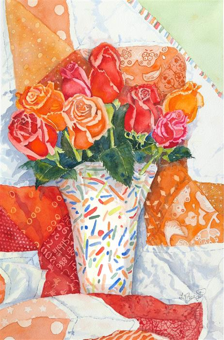 Original art for sale at UGallery.com | Red Roses in Confetti by Nancy LaBerge Muren | $625 | watercolor painting | 18' h x 12' w | ..\art\watercolor-painting-Red-Roses-in-Confetti