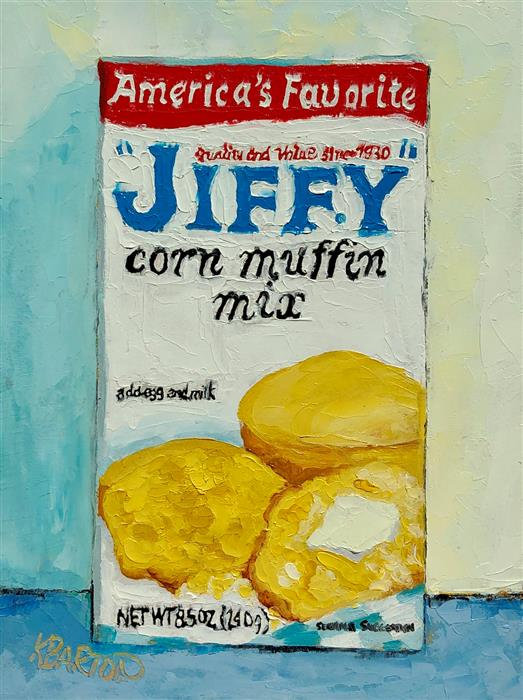 Original art for sale at UGallery.com | Jiffy Muffin Mix by Karen Barton | $325 | oil painting | 8' h x 6' w | ..\art\oil-painting-Jiffy-Muffin-Mix