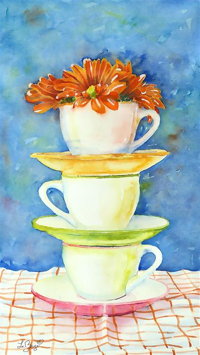 Original art for sale at UGallery.com | Espresso by Nancy LaBerge Muren | $525 | watercolor painting | 18' h x 10' w | ..\art\watercolor-painting-Espresso