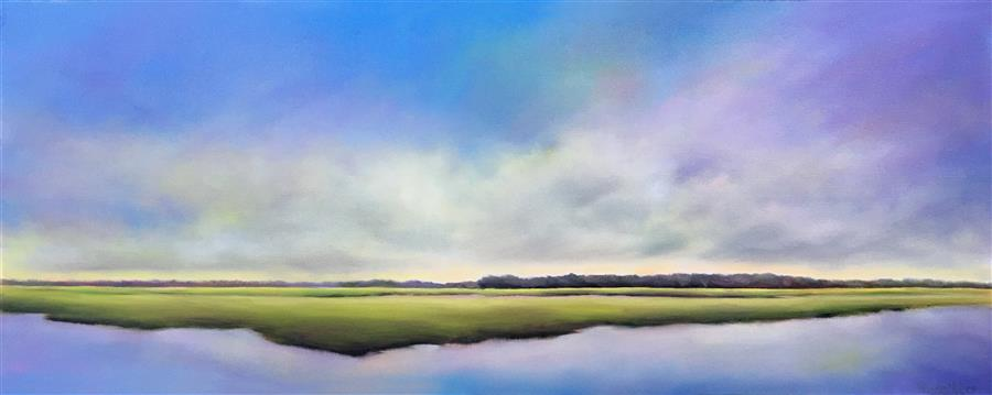 Original art for sale at UGallery.com | Soft Mood Marsh II by Nancy Hughes Miller | $1,375 | oil painting | 16' h x 40' w | ..\art\oil-painting-Soft-Mood-Marsh-II