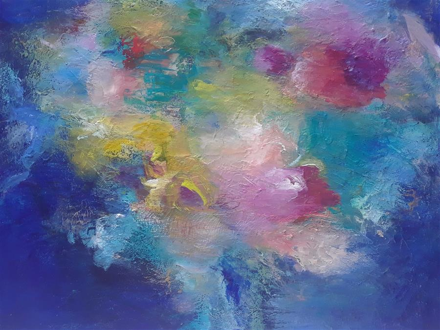 Original art for sale at UGallery.com | Floating Minds by Hilma Koelman | $1,800 | acrylic painting | 30' h x 24' w | ..\art\acrylic-painting-Floating-Minds