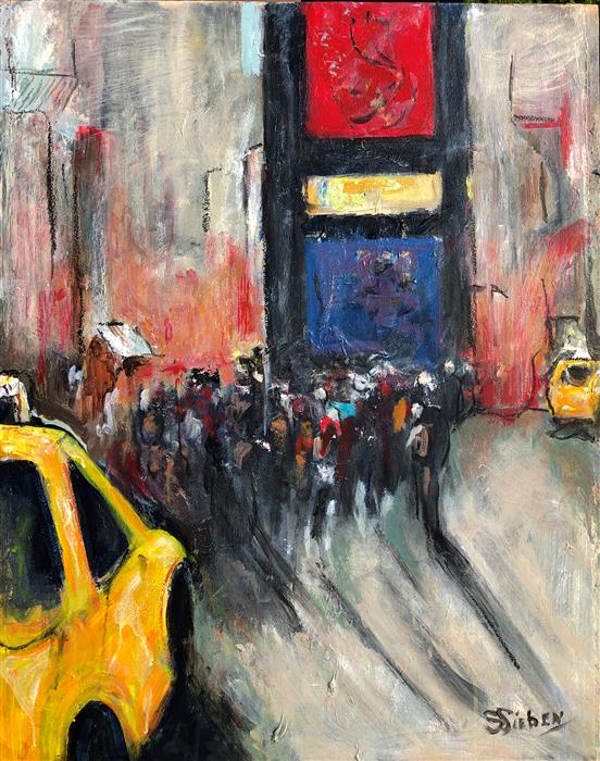 Original art for sale at UGallery.com | Times Square II by Sharon Sieben | $1,225 | acrylic painting | 30' h x 24' w | ..\art\acrylic-painting-Times-Square-II