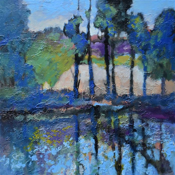 Original art for sale at UGallery.com | Trees by the Still Water by Kip Decker | $2,100 | acrylic painting | 30' h x 30' w | ..\art\acrylic-painting-Trees-by-the-Still-Water