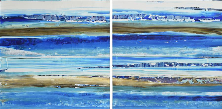 Original art for sale at UGallery.com | Aqua 11 by Lisa Carney | $1,050 | acrylic painting | 16' h x 32' w | ..\art\acrylic-painting-Aqua-11