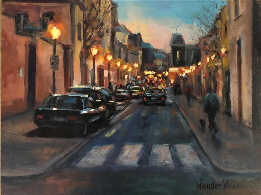 Original art for sale at UGallery.com | Night Walk by Faye Vander Veer | $675 | oil painting | 8' h x 10' w | ..\art\oil-painting-Night-Walk