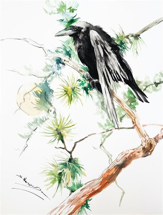 Original art for sale at UGallery.com | Raven, Moon and Pine Tree by Suren Nersisyan | $350 | watercolor painting | 24' h x 18' w | ..\art\watercolor-painting-Raven-Moon-and-Pine-Tree