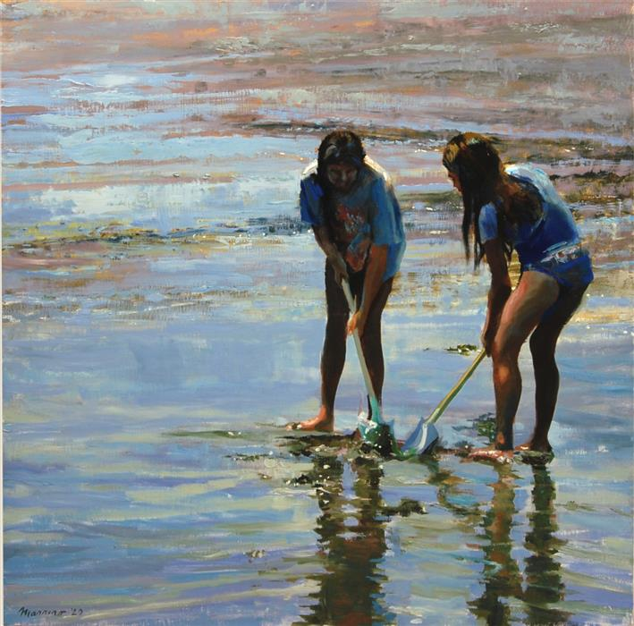 Original art for sale at UGallery.com | Digging at Low Tide by Onelio Marrero | $1,250 | oil painting | 24' h x 24' w | ..\art\oil-painting-Digging-at-Low-Tide