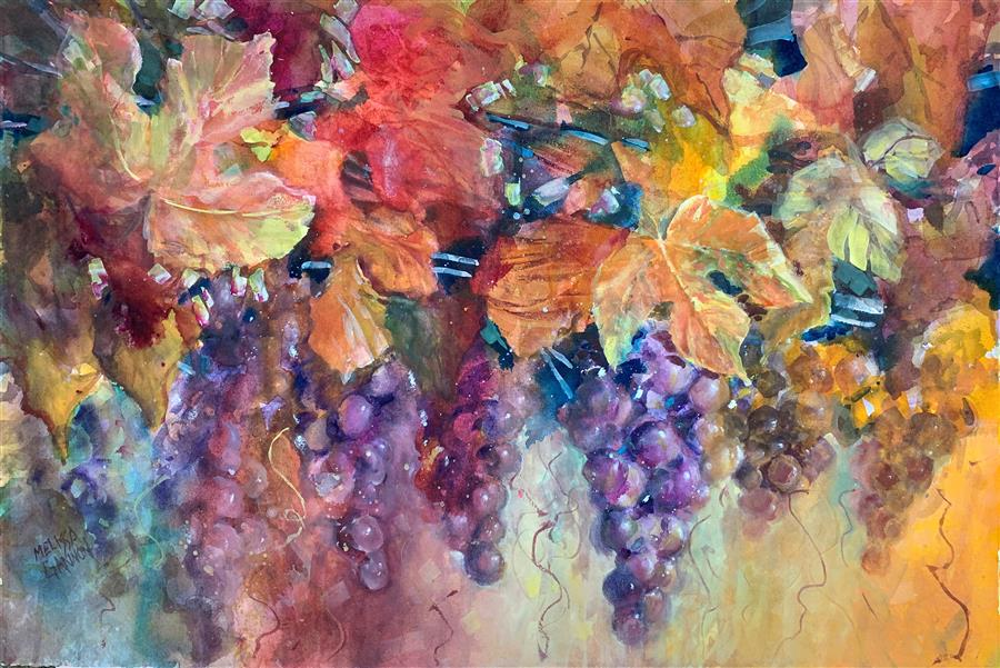 Original art for sale at UGallery.com | Magic & Grapes by Melissa Gannon | $600 | mixed media artwork | 15.25' h x 22.5' w | ..\art\mixed-media-artwork-Magic-Grapes