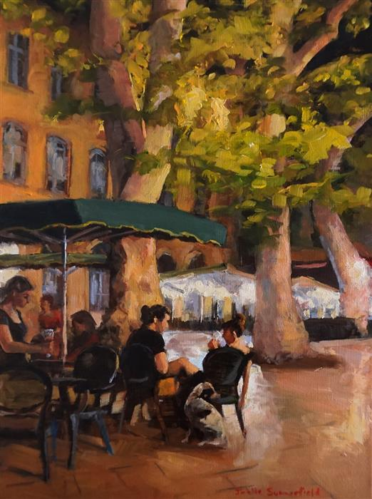 Original art for sale at UGallery.com | Summer Night in Aix by Jonelle Summerfield | $675 | oil painting | 16' h x 12' w | ..\art\oil-painting-Summer-Night-in-Aix