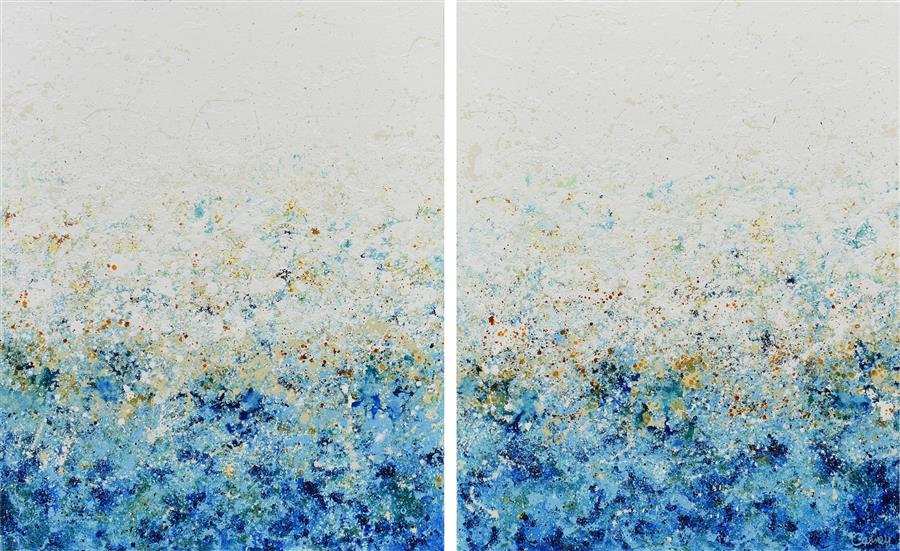 Original art for sale at UGallery.com | Blue Mist by Lisa Carney | $2,250 | acrylic painting | 30' h x 48' w | ..\art\acrylic-painting-Blue-Mist-68619