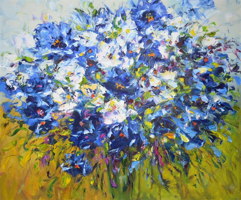 Original art for sale at UGallery.com | Mood Color Blue by Iryna Kastsova | $2,600 | oil painting | 39' h x 47' w | ..\art\oil-painting-Mood-Color-Blue