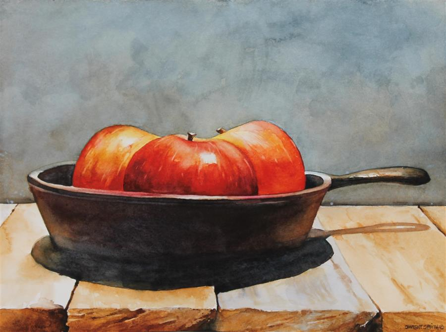 Original art for sale at UGallery.com | Fried Apples by Dwight Smith | $400 | watercolor painting | 9' h x 12' w | ..\art\watercolor-painting-Fried-Apples