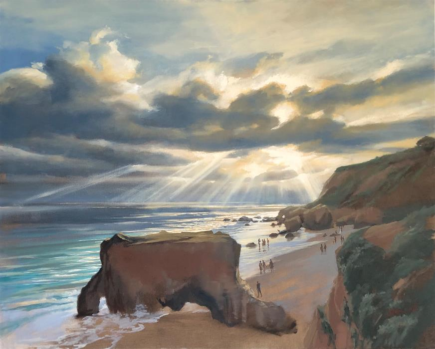 Original art for sale at UGallery.com | Marine Layer at El Matador by Jesse Aldana | $1,375 | oil painting | 24' h x 30' w | ..\art\oil-painting-Marine-Layer-at-El-Matador