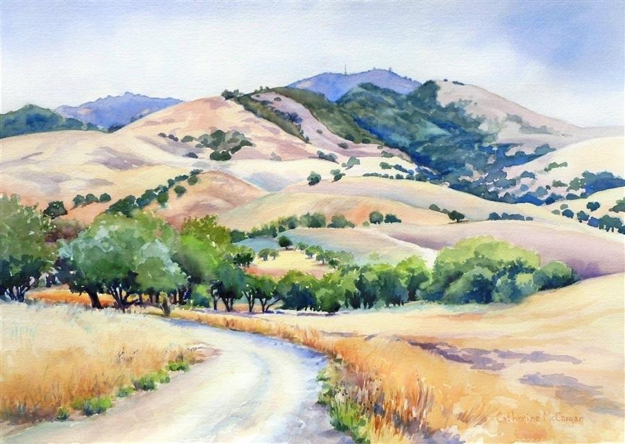 Original art for sale at UGallery.com | Heading for the Hills by Catherine McCargar | $875 | watercolor painting | 14' h x 20' w | ..\art\watercolor-painting-Heading-for-the-Hills