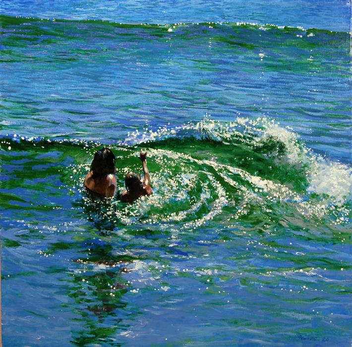 Original art for sale at UGallery.com | Timing the Waves by Onelio Marrero | $1,250 | oil painting | 24' h x 24' w | ..\art\oil-painting-Timing-the-Waves