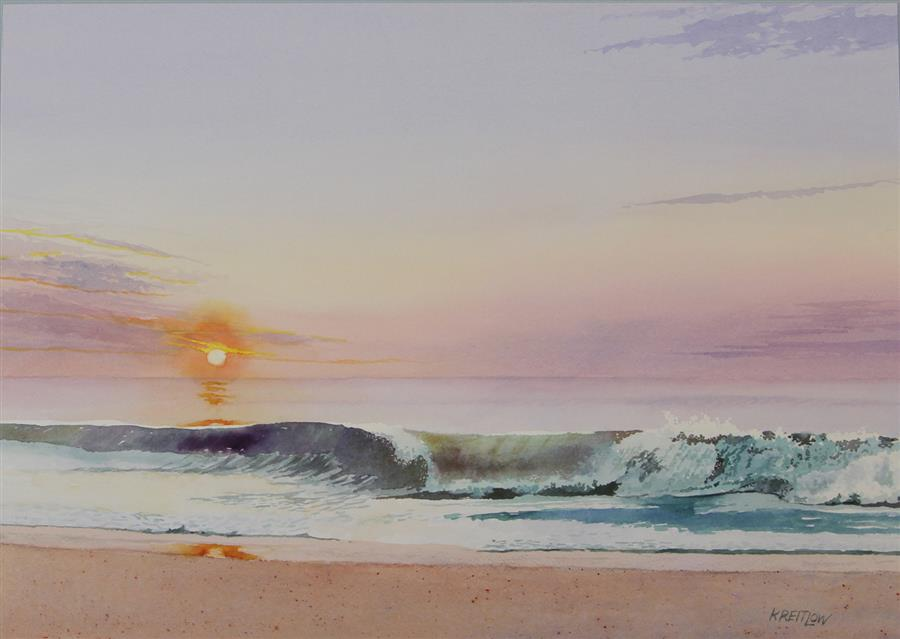 Original art for sale at UGallery.com | Rehoboth Sunrise by Bill Kreitlow | $700 | watercolor painting | 15.37' h x 21.37' w | ..\art\watercolor-painting-Rehoboth-Sunrise