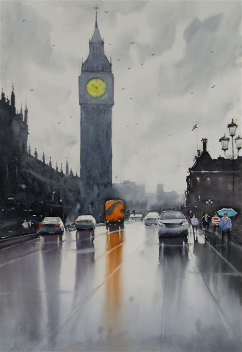 Original art for sale at UGallery.com | That Red Bus in Westminster by Swarup Dandapat | $750 | watercolor painting | 22' h x 15' w | ..\art\watercolor-painting-That-Red-Bus-in-Westminster