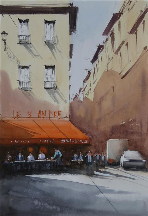Original art for sale at UGallery.com | Bistro by Road by Swarup Dandapat | $750 | watercolor painting | 22' h x 15' w | ..\art\watercolor-painting-Bistro-by-Road