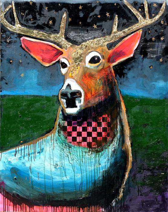 Original art for sale at UGallery.com | Night Deer by Scott Dykema | $7,500 | mixed media artwork | 60' h x 48' w | ..\art\mixed-media-artwork-Night-Deer