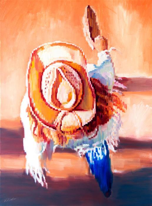 Original art for sale at UGallery.com | Cowgirl on Pueblo Riverwalk by Warren Keating | $4,600 | oil painting | 48' h x 36' w | ..\art\oil-painting-Cowgirl-on-Pueblo-Riverwalk