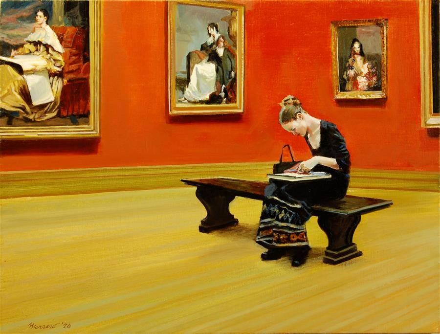 Original art for sale at UGallery.com | Sketching in the American Wing by Onelio Marrero | $1,125 | oil painting | 18' h x 24' w | ..\art\oil-painting-Sketching-in-the-American-Wing