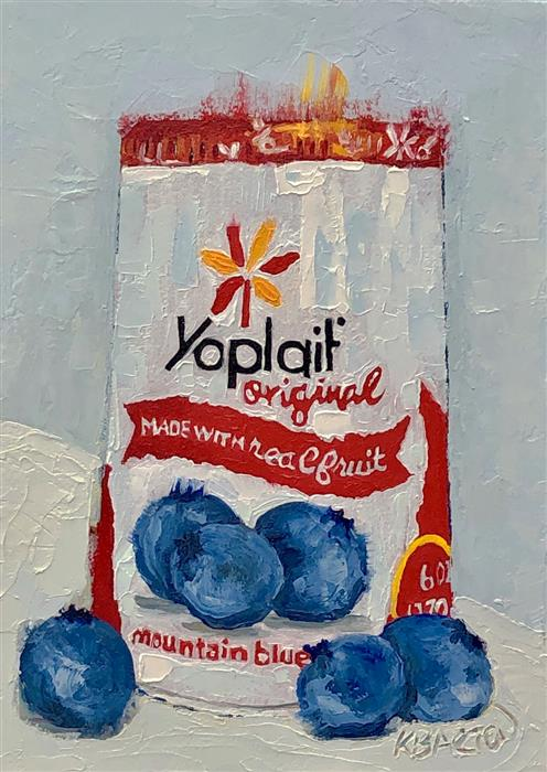 Original art for sale at UGallery.com | Blueberry Yoplait by Karen Barton | $260 | oil painting | 7' h x 5' w | ..\art\oil-painting-Blueberry-Yoplait