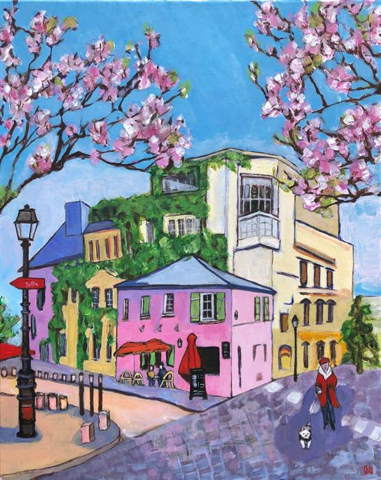 Original art for sale at UGallery.com | Pink Cafe with Pink Blossom by Laura (Yi Zhen) Chen | $550 | acrylic painting | 20' h x 16' w | ..\art\acrylic-painting-Pink-Cafe-with-Pink-Blossom
