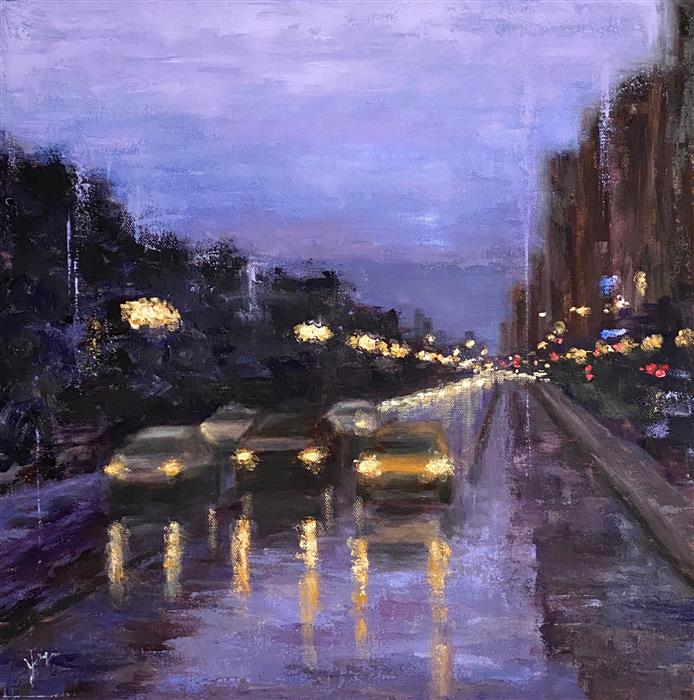 Original art for sale at UGallery.com | South Michigan Ave by Yangzi Xu | $725 | oil painting | 18' h x 18' w | ..\art\oil-painting-South-Michigan-Ave
