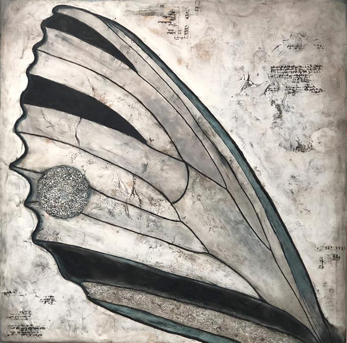 Original art for sale at UGallery.com | Swallowtail by Shannon Amidon | $2,700 | encaustic artwork | 36' h x 36' w | ..\art\encaustic-artwork-Swallowtail