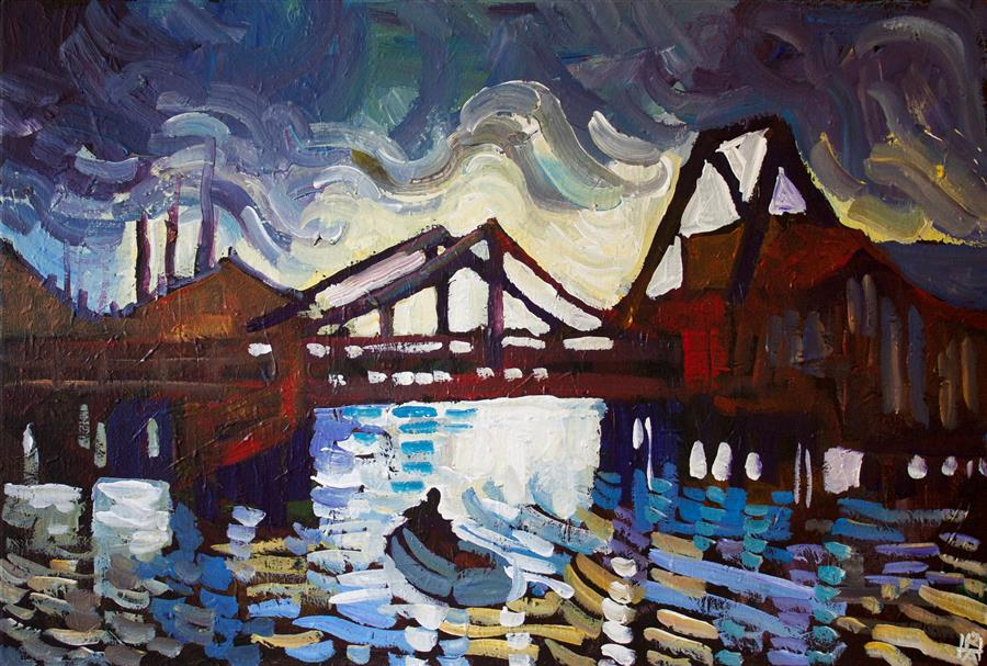 Original art for sale at UGallery.com | Fall River by Robert Hofherr | $1,375 | acrylic painting | 20' h x 30' w | ..\art\acrylic-painting-Fall-River