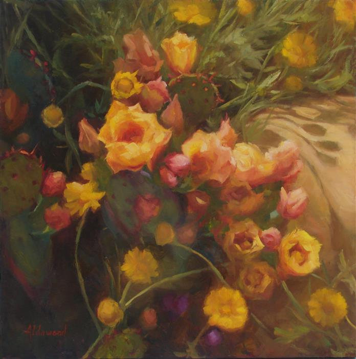Original art for sale at UGallery.com | Blooming Prickly Pear by Sherri Aldawood | $1,000 | oil painting | 18' h x 18' w | ..\art\oil-painting-Blooming-Prickly-Pear