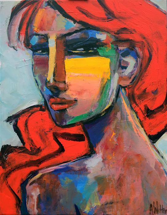 Original art for sale at UGallery.com | Red Head by Allen Wittert | $1,400 | acrylic painting | 18' h x 14' w | ..\art\acrylic-painting-Red-Head