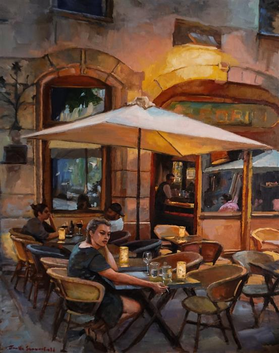 Original art for sale at UGallery.com | Dinner in Lyon by Jonelle Summerfield | $1,375 | oil painting | 30' h x 24' w | ..\art\oil-painting-Dinner-in-Lyon