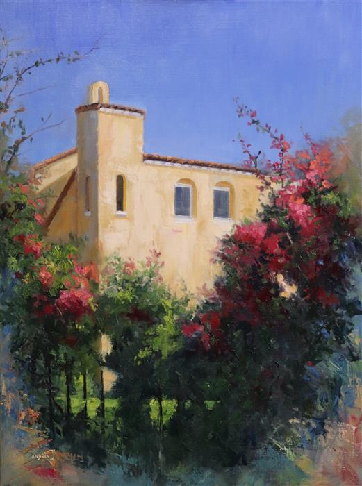 Original art for sale at UGallery.com | The House among the Bougainvillea by Andres Lopez | $1,300 | oil painting | 24' h x 18' w | ..\art\oil-painting-The-House-among-the-Bougainvillea