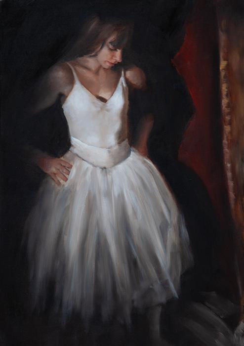 Original art for sale at UGallery.com | Clemence in Shadow by John Kelly | $2,300 | oil painting | 21.5' h x 15' w | ..\art\oil-painting-Clemence-in-Shadow