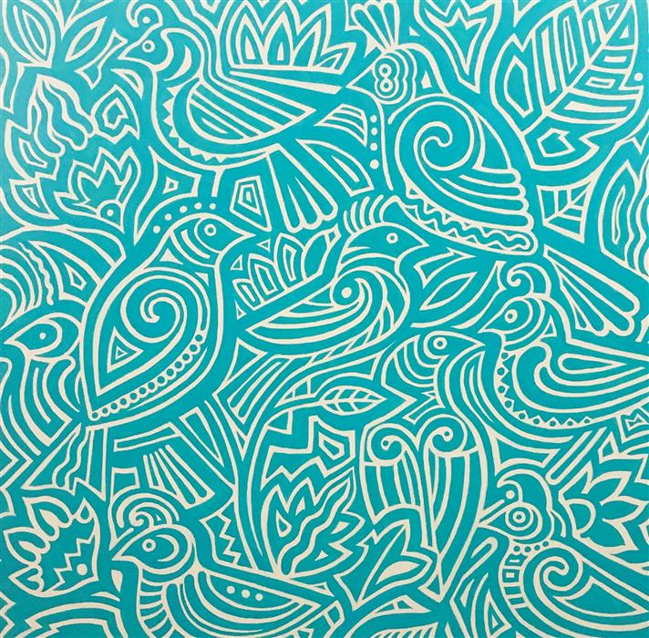 Original art for sale at UGallery.com | Nine Birds by Johnny Karwan | $1,550 | acrylic painting | 36' h x 36' w | ..\art\acrylic-painting-Nine-Birds