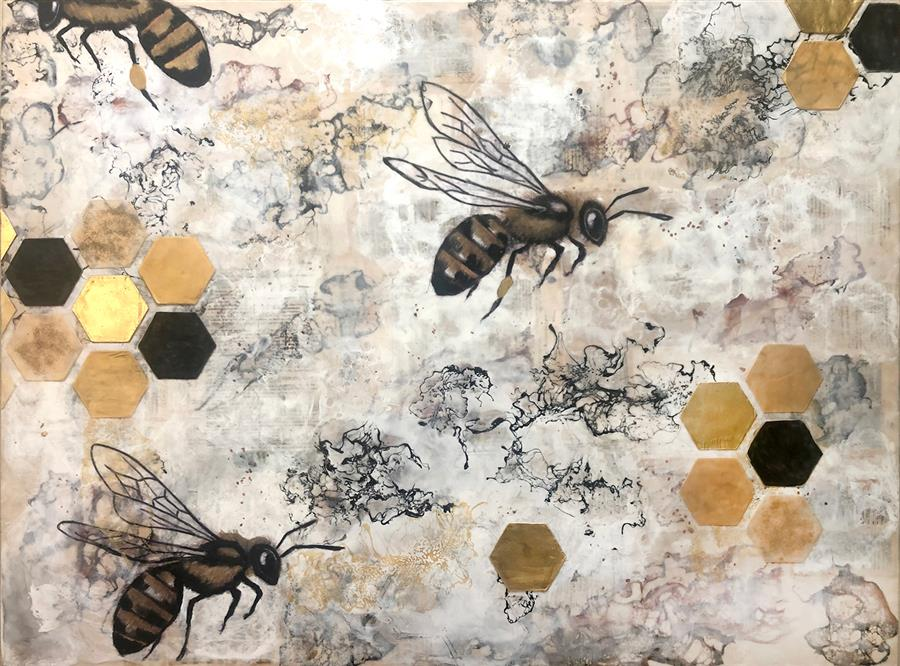 Original art for sale at UGallery.com | Telling the Bees by Shannon Amidon | $3,375 | encaustic artwork | 36' h x 48' w | ..\art\encaustic-artwork-Telling-the-Bees
