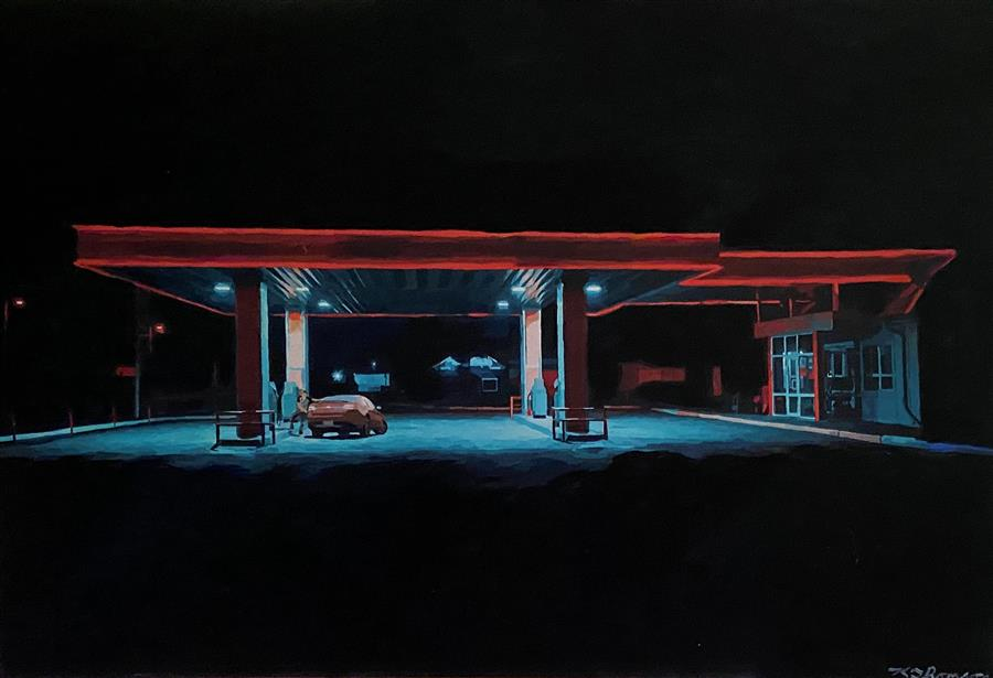 Original art for sale at UGallery.com | Land of the Freeway by Keith Thomson | $1,200 | mixed media artwork | 16' h x 24' w | ..\art\mixed-media-artwork-Land-of-the-Freeway