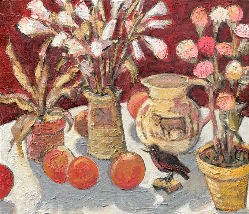 Original art for sale at UGallery.com | Still Life in a Limited Palette by James Hartman | $1,375 | oil painting | 22.5' h x 26' w | ..\art\oil-painting-Still-Life-in-a-Limited-Palette
