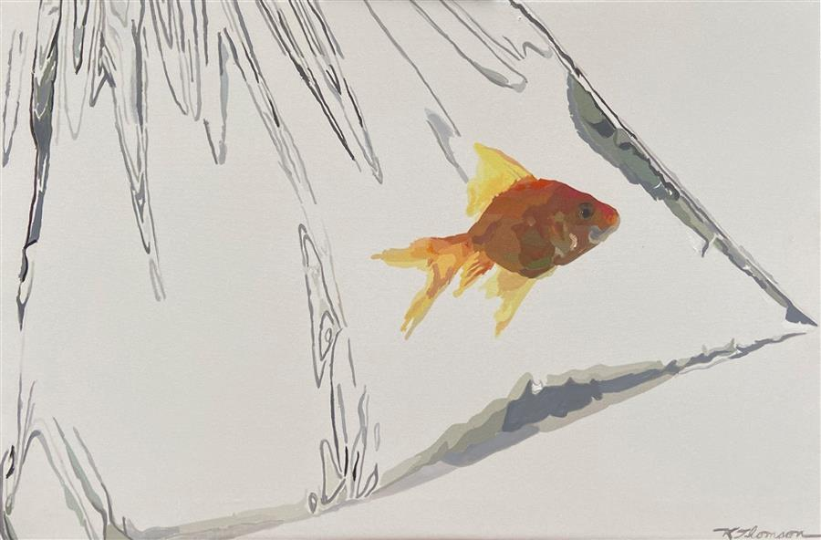 Original art for sale at UGallery.com | Bag of Fish by Keith Thomson | $1,000 | oil painting | 16' h x 24' w | ..\art\oil-painting-Bag-of-Fish