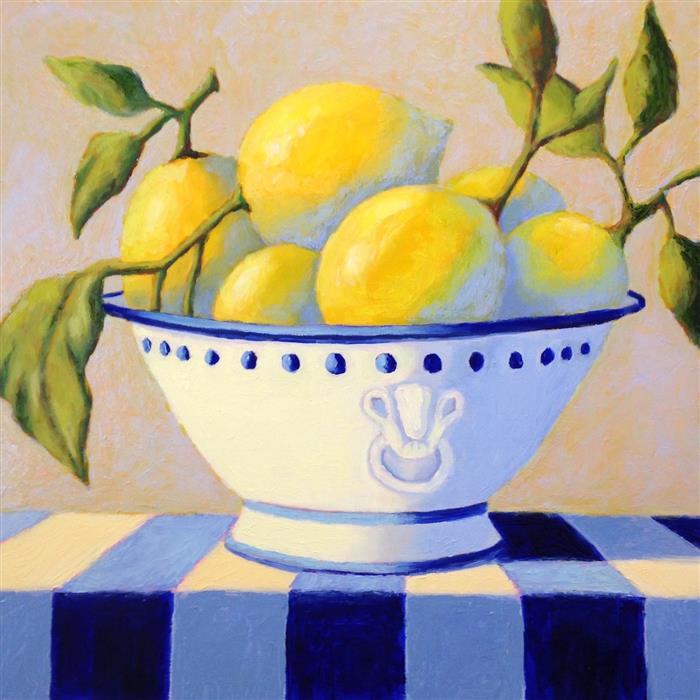 Original art for sale at UGallery.com | Bowl of Lemons by Pat Doherty | $975 | oil painting | 18' h x 18' w | ..\art\oil-painting-Bowl-of-Lemons